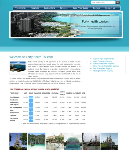 website designing forty health tourism