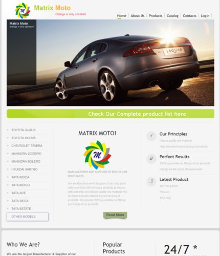 website design matrix moto